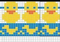 Ravelry: Rubber duck chart pattern by Sandra Jäger Fair Isle Knitting Patterns, Knitting Charts, Knitting Stitches, Free Knitting, Fair Isle Chart, Little Cotton Rabbits, Tapestry Crochet, Crochet Chart, Rubber Duck
