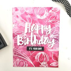 Floral Happy Birthday Card by Freshwater Studio using SSS Spring Flowers stamp set and Painted Happy Birthday wafter die #SSSFAVE