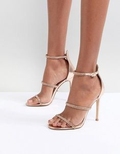 e94fe3b609e8 Lipsy Metallic 3 Strap Barely There Shoes. Nude Heeled SandalsFashion HeelsParty  ShoesLipsyFashion OnlineRose GoldAsosMetallic