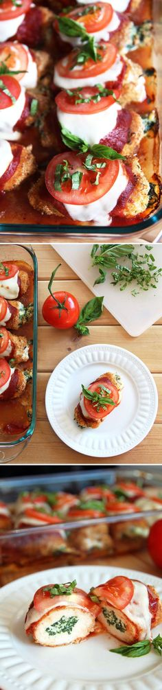 Caprese Chicken Roll Ups - delicious spinach and ricotta stuffed chicken baked with marinara sauce, mozzarella and basil.