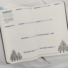 Bullet journal weekly layout, highlighted headers, open dailies, weekly task list, tree drawings. | @fluffypanda94