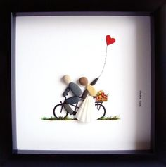 Pebble and Sea Glass Art Wedding Gift Just Married Gift Tandem Bicycle Wedding Portrait Unique Wedding Gift Bicycle art Unique Gifts Hochzeitskarten Wedding Presents For Newlyweds, Romantic Wedding Gifts, Wedding Gifts For Bride And Groom, Wedding Gifts For Couples, Unique Wedding Gifts, Unique Weddings, Unique Gifts For Couples, Tandem Bicycle, Bicycle Art