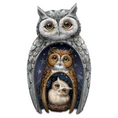 A FIRST! A trio of nesting owl figurines with handcrafted interior bas-relief artistry, hand-painted details and Swarovski crystals. Limited edition!