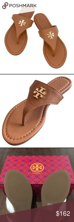 ⭐️NWT⭐️ Tory Burch Laura Sandals Leather sole Leather upper Soft cushioned footbed Soft tumbled leather Slip on sandals Golden double T logo  ✅Listed product is authentic. ✅Comes with original box and packaging.  ☀️Color : Royal tan with golden logo. Tory Burch Shoes Sandals