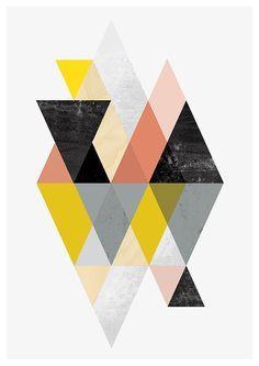 geométrico impresión arte abstracto arte geométrico por handz