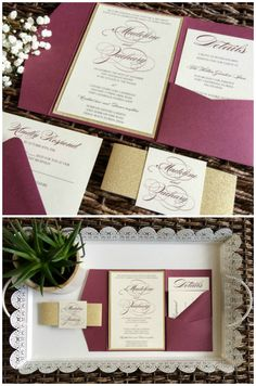Simple, Classic, Chic. This timeless Burgundy/Marsala Pocket Wedding Invitation is sure to impress. Choose from one of our suites, or let us create something custom to match your magical marsala wedding day! Looking for other colors? Our pockets come in over 80 colors! #wedding #invitations #etsy #Marsala