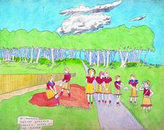 Henry Darger (1892-1973), detail from larger picture showing At Journall, Secure queerly formed plans of the enemy.... Watercolor and pencil on assembled paper, 48 x 178 cm. Copyright: Musgrave Kinley Outsider Art Collection, Whitworth Art Gallery
