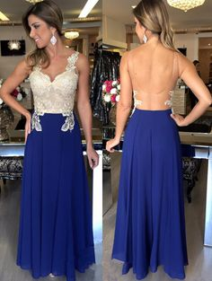 Backless Prom Dresses,Royal Blue Prom Dress,Backless Formal Gown,Open
