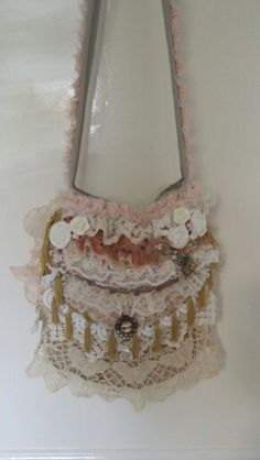 #Sweet #shabbychic #victorian #bag #lace #doily #made by Marie AntoiNatalie