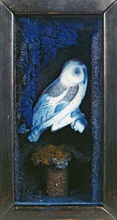 Joseph Cornell - Untitled (Owl Habitat) c. mid- to late Joseph Cornell Boxes, Jasper Johns, Felt Owls, Royal Academy Of Arts, Found Art, Collaborative Art, Animal Projects, Assemblage Art, Owl Art