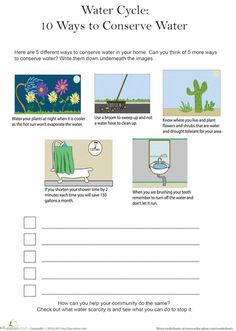 Worksheets: 5 Ways to Conserve Water