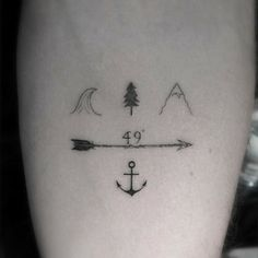 """Un seguidor de Canadá nos manda a través de Instagram este pequeño tatuaje en el antebrazo sobre Vancouver, con símbolos cartográficos, 49º de longitud y un ancla simbolizando """"hogar"""", un tatuaje realmente original"""