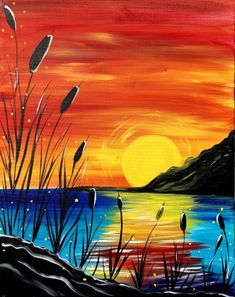 great from each other canvas painting diy, painting landscapes, sunset painting, decoration chalk, watercolor ideas. Cute Canvas Paintings, Oil Pastel Paintings, Oil Pastel Drawings, Oil Pastel Art, Easy Canvas Painting, Simple Acrylic Paintings, Canvas Art, Sun Painting, Diy Canvas