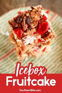 This Old School Recipe For Icebox Fruitcake Was Often Packed Back In The Graham Cracker Box And Stored In The Refrigerator This Quick And Easy Recipe Is The Perfect Holiday Treat. Indeed, even Fruitcake Haters Will Love This Version Christmas Desserts, Christmas Treats, Holiday Treats, Holiday Recipes, Christmas Candy, Christmas Recipes, Christmas Kitchen, Green Christmas, Christmas Cookies