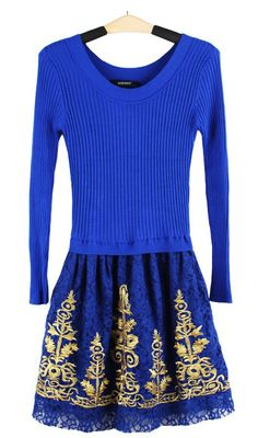 Lace wool bottoming long-sleeved dress