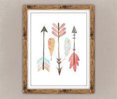 Arrows and Feathers Printable Boho Chic Nursery by PrettyPlusPaper