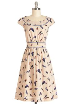 Day After Day Dress in Aviary. Just as you can always rely on your bestie to greet you with a pint of ice cream after a hard day, you can trust that this darling dress by hard-to-find British designers Emily and Fin will always lift your spirits when you need it!  #modcloth