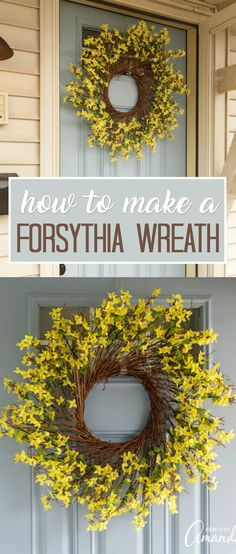 Learn how to make a gorgeous forsythia wreath to hang on your door this spring. Easy tutorial with lots of step by step photos.