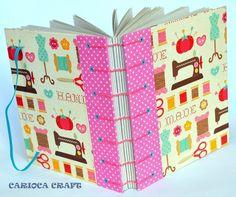 Caderno em costura Copta  capa em papel importado e tecido  miolo em papel Vergê 120g   180 páginas R$59,00