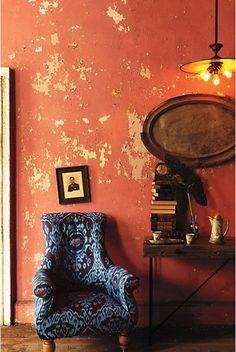 Interior Design – the yellow cottage Distressed Decor, Distressed Walls, Wabi Sabi, Color Inspiration, Interior Inspiration, Yellow Cottage, Deco Boheme, Art Furniture, Bohemian Decor