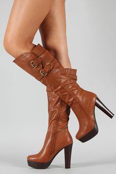 Wilona-1 Buckle Platform Knee High Boot $43.90