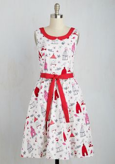 Oui Are the World Dress in Birds - Red, White, Print with Animals, Novelty Print, Print, Pockets, Daytime Party, Valentine's, Critters, A-line, Sleeveless, Spring, Woven, Best, Long, Variation