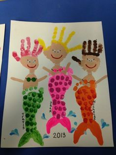 ideas for baby art footprint fun Kids Crafts, Daycare Crafts, Baby Crafts, Summer Crafts, Cute Crafts, Toddler Crafts, Arts And Crafts, Hand Kunst, Mermaid Crafts