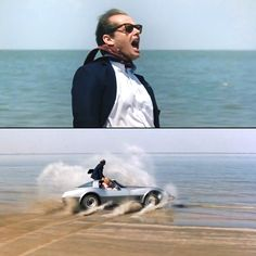 This sequence stands out even in a movie with a dozen memorable scenes: Jack Nicholson steers his Corvette down the beach with his feet, bellowing,…with Shirley Maclean in the passengers seat.