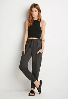 Drawstring Woven Joggers | LOVE21 | #f21contemporary | #lyoness