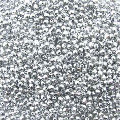4mm Faceted Metallic Silver Firepolish Czech Glass Beads - Qty 50 (BS42)