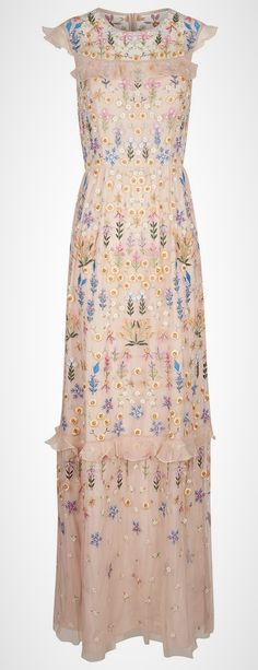 Nude Flowerbed Embroidered Gown