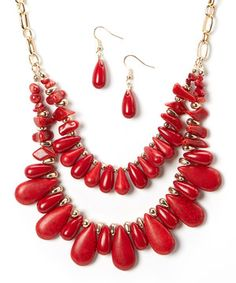 Gold & Coral Layered Necklace & Drop Earrings by Zulily #zulily #zulilyfinds