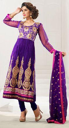 Exquisite Purple Net Anarkali Salwar Kameez-IG6442 at IndianGarb