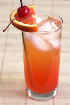 Georgia Pie drink recipe with Southern Comfort, peach schnapps, Malibu Rum, orange and pineapple juice and grenadine.