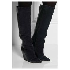 Isabel Marant Knee Boots Prescott Suede and Leather Wedge