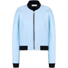 Balenciaga Cristobal Bomber (€1.130) ❤ liked on Polyvore featuring outerwear, jackets, coats & jackets, tops, balenciaga, bomber jacket, bomber style jacket, balenciaga jacket and blue bomber jacket