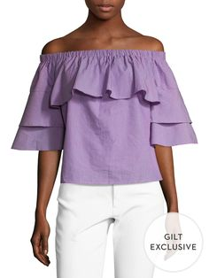 Lucca Couture Cotton Poplin Off Shoulder Ruffle Top