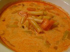 zöldbableves recept Thai Red Curry, Ethnic Recipes, Food, Essen, Meals, Yemek, Eten
