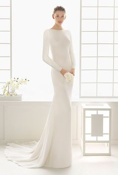 Long Sleeves 2016 New Wedding Dresses Sheath Scoop Neck Chapel Train Covered Button Back Soft Satin Bridal Gowns Wedding Gowns Wedding Dress Cinderella, Rosa Clara Wedding Dresses, 2016 Wedding Dresses, Wedding Dress Trends, Wedding Dress Styles, Bridal Dresses, Wedding Gowns, Lace Wedding, Mermaid Wedding