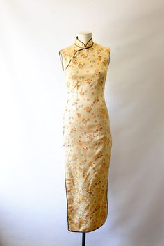 Vintage 80s chinese dress gold floral mandarin collar fitted long dress muted gold floral body con dress size 2-4 small