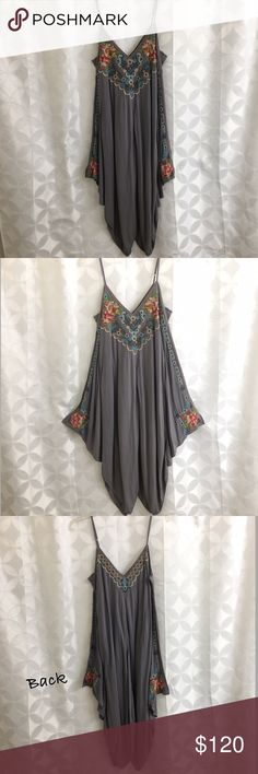 Johnny Was Handkerchief Hem Dress NWT - beautiful embroidery detail, midi length with adjustable spaghetti straps, the dress is 100% rayon with  a 100% cotton lining. Johnny Was Dresses Asymmetrical