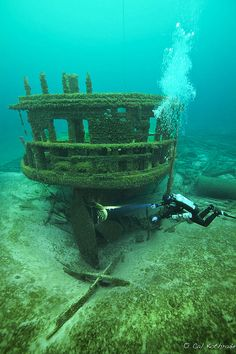 St. Albans shipwreck in Lake Michigan, by photographer Cal Kothrade. Prints available.