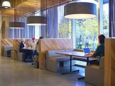 LinkedIn | Sunnyvale Campus | This new office space was designed to encourage productivity and open communication, with a sense of community between employees and teams. It is a vibrant space with design emphasis on natural materials. Wood flooring designates the main circulation paths and a sophisticated yet playful atmosphere runs throughout the space. It is home to LinkedIn's Brick & Mortar Café with the fit, feel and food of a top rated restaurant, an innovative fitness center.