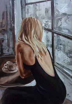 """ LITTLE BLACK ... "" original OIL painting CITY palette knife GIFT MODERN URBAN ART OFFICE ART DECOR HOME DECOR GIFT IDEA by Monika Luniak #OilPaintingCity"