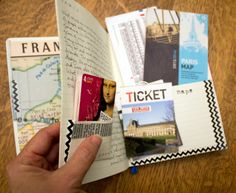 Paris Travel Journal - using washi tape for pockets
