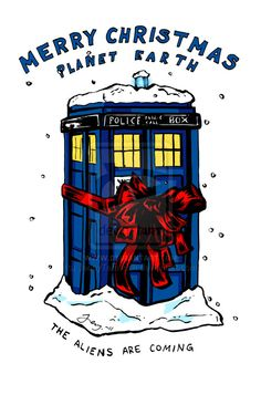 Tardis christmas card - Doctor Who by JennyTaravosh.deviantart.com