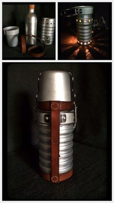 Swiss Army stove with hand made leather straps.