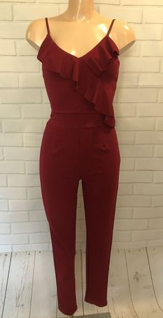 5cc726ecd4f Extra Off Coupon So Cheap Stunning Quiz Burgundy Wine Slim Fit Frill  Feature Stretchy Jumpsuit Size 14