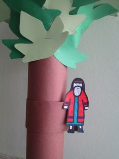 Zacchaeus in the sycamore tree craft using a Pringle container....paper towel roll