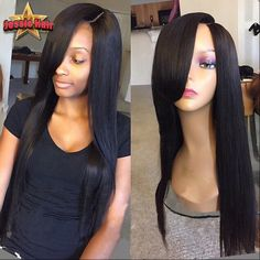 69.30$  Watch here - http://aliw9m.worldwells.pw/go.php?t=32734325498 - Full Lace Human Hair Wigs With Bangs Brazilian Virgin Straight Lace Front Human Hair Wigs For Black Women Glueless Full Lace Wig 69.30$